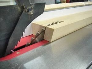 blade positions while ripping long board with table saw